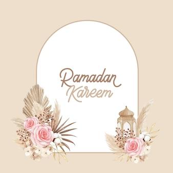 Ramadan kareem-wenskaartsjabloon met prachtige roos en droge bladeren