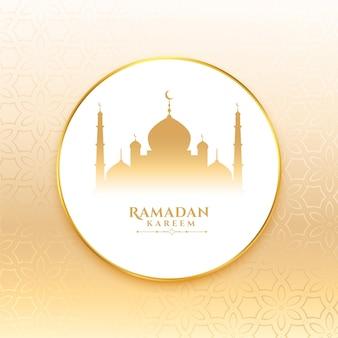 Ramadan kareem wenst kaart met moskee-ontwerp