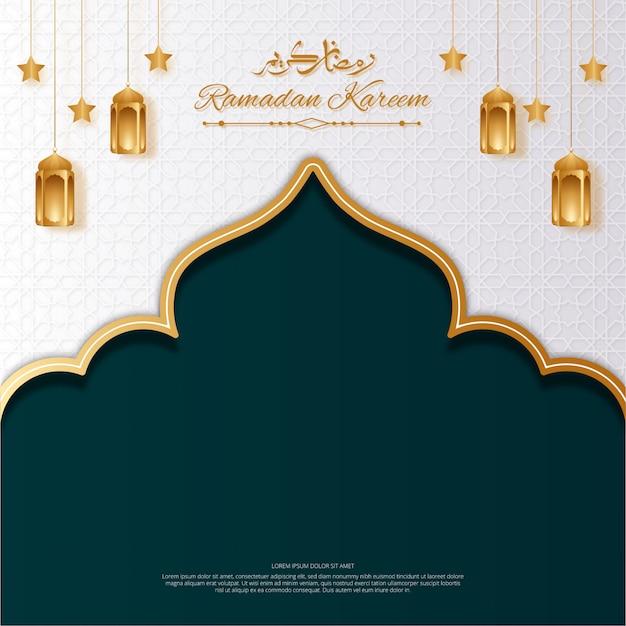 Ramadan kareem witte en groene achtergrond met lantaarns, ster en arabische kalligrafie