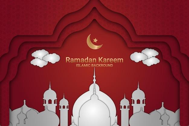 Ramadan kareem witte moskee achtergrond papier stijl kleur rood en wit