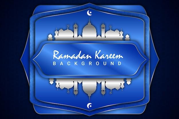 Ramadan kareen zilveren moskee achtergrond papier stijl kleur blauw en zilver