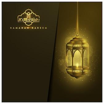 Ramadan karrem wenskaart vectorontwerp met gloeiende lantaarn
