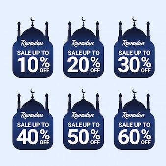 Ramadan korting tag premium vector collectie met blauw kleurverloop