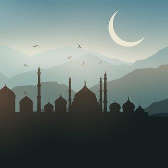 Ramadan landschap achtergrond bij zonsondergang