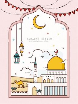 Ramadan-lijnstijlontwerp met moskee in de woestijn