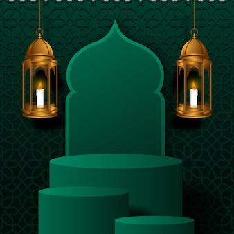 Ramadan met cilinderpodium met hangende gouden luxe lantaarn