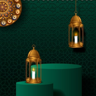 Ramadan met cilinderpodium met hangende gouden luxelantaarn, mandala-ornament en groene moskeedecoratie