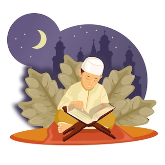 Ramadan, met karakter, klein kind las de illustratie van de koran