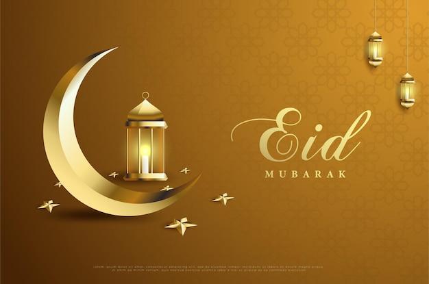 Ramadan met naast elkaar de maan en lantaarns.