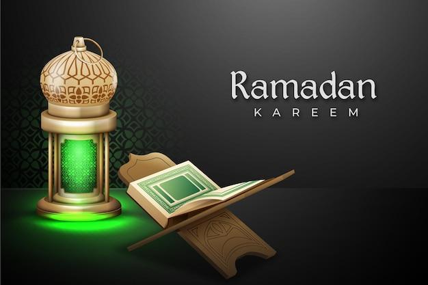 Ramadan met realistische mushaf en lantaarn