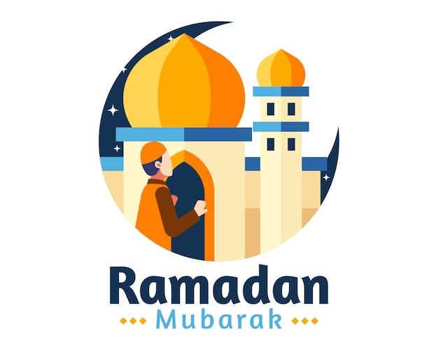 Ramadan mubarak-achtergrond met moslimman bidt voor moskee