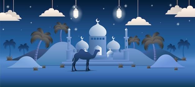 Ramadan mubarak achtergrond realistisch desert palm tree illustratie concept