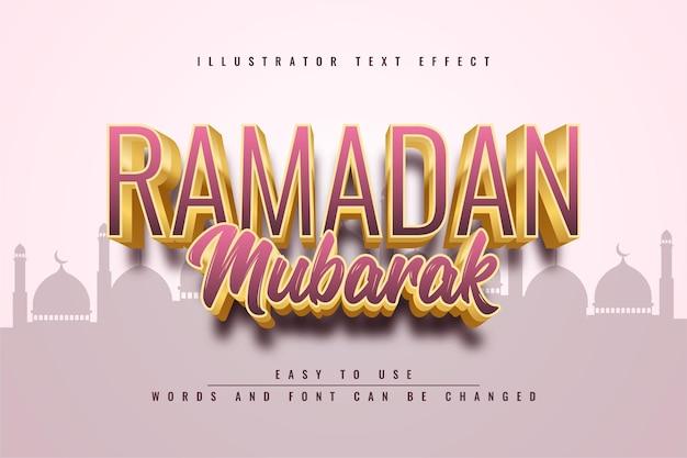 Ramadan mubarak bewerkbaar teksteffect sjabloonontwerp