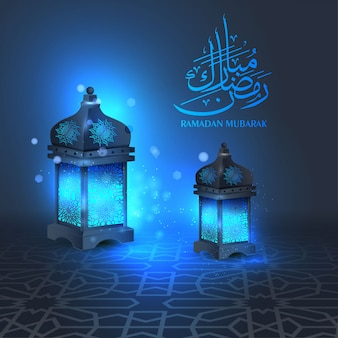 Ramadan mubarak groet achtergrond met zwarte lantaarn