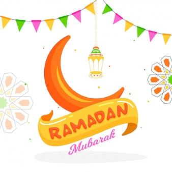Ramadan mubarak-het ontwerp van de groetkaart met illustratie van cresce