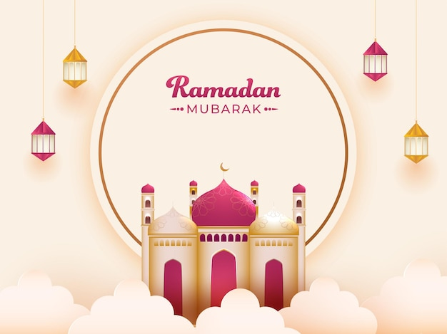 Ramadan mubarak-tekst op cirkelvormig frame met glanzende moskee, wolken en hangende lantaarns