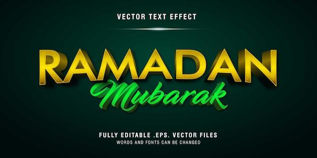 Ramadan mubarak tekststijleffect volledig bewerkbaar
