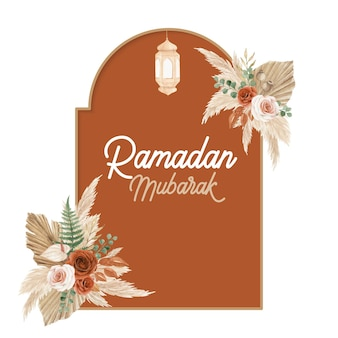 Ramadan mubarak-wenskaartsjabloon met boho-stijl