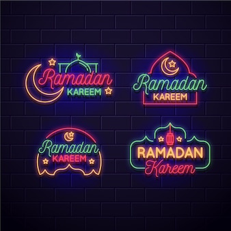 Ramadan neon sign pack