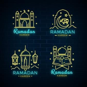 Ramadan neon teken set