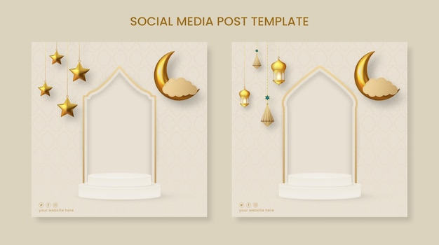 Ramadan of eid mubarak vierkante sjabloon voor spandoek met hangende ornamenten en podium
