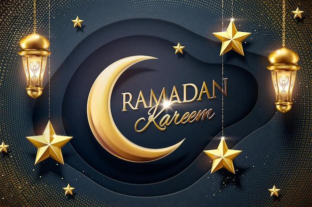 Ramadan ontwerp donkerblauwe papieren achtergrond met hangende gouden ster en fanoos