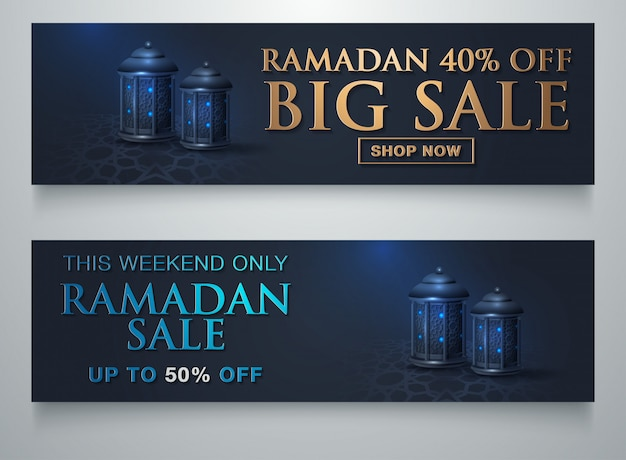 Ramadan sale islamic ornament lantern moon sjabloon voor spandoek