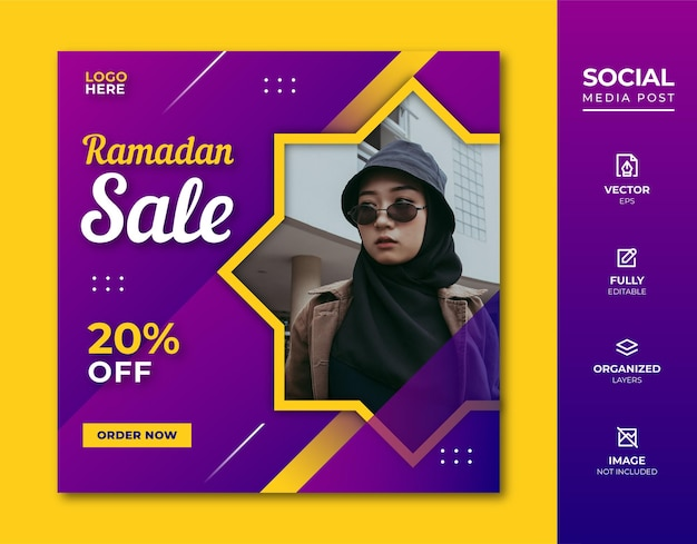 Ramadan sale social media post-sjabloon.