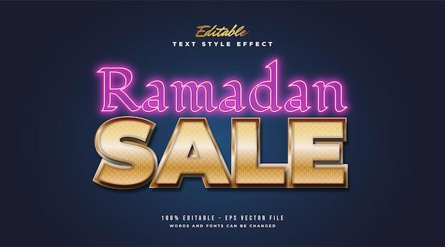 Ramadan sale-tekst met gouden verloop en gloeiend neoneffect