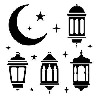 Ramadan set met lantaarn, maan en sterren in zwart-wit.