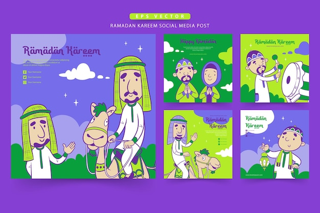 Ramadan social media postsjabloon met de schattige moslim cartoon