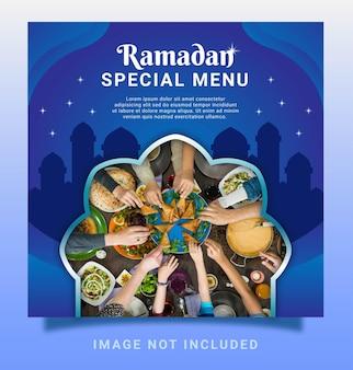 Ramadan speciaal menu instagram bericht sociale mediasjabloon