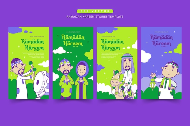 Ramadan verhalen sjabloon met de schattige moslim cartoon