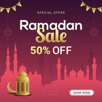 Ramadan verkoop banner korting sjabloonontwerp voor zakelijke promotie