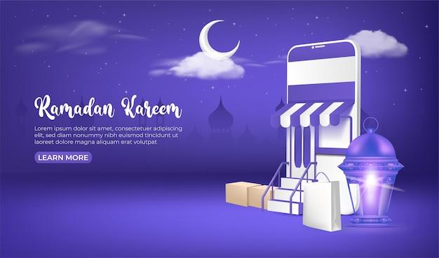Ramadan verkoop banner, ramadan online winkelen