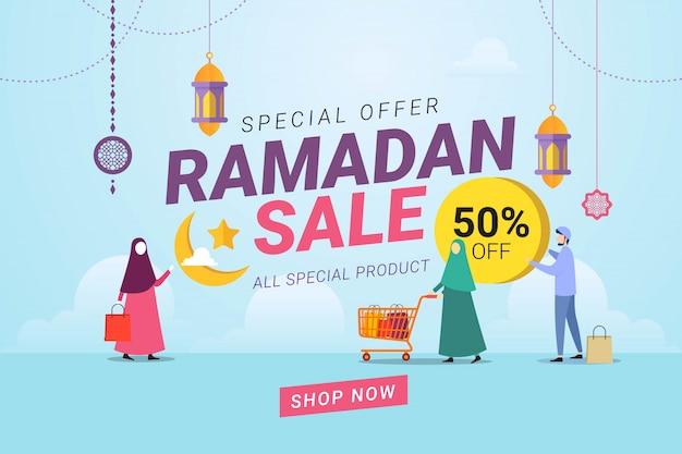 Ramadan verkoop banner sjabloon achtergrond