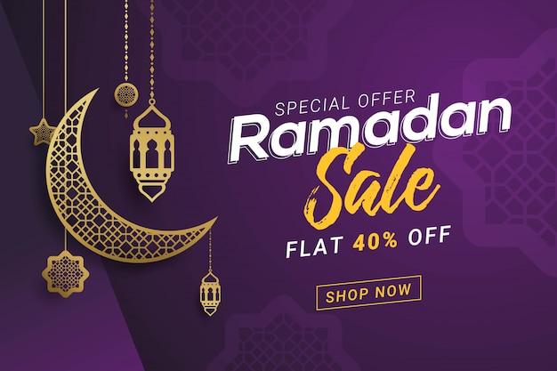 Ramadan verkoop banner sjabloon ontwerp achtergrond
