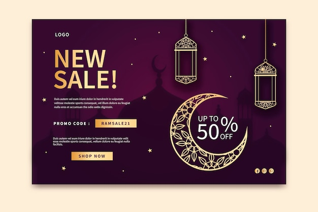 Ramadan verkoop bestemmingspagina sjabloon