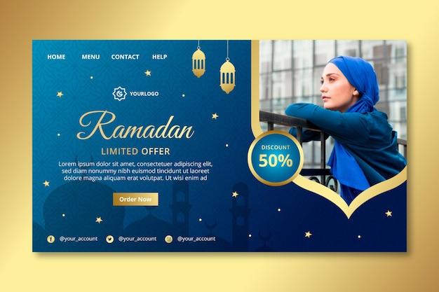 Ramadan verkoop bestemmingspagina sjabloon Gratis Vector