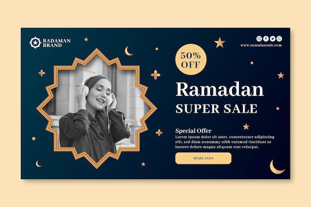 Ramadan verkoop horizontale banner sjabloon