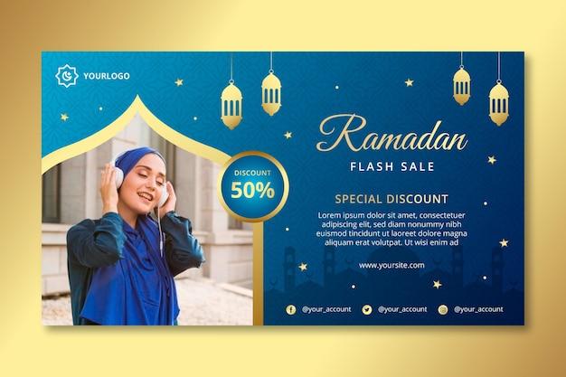 Ramadan verkoop horizontale banner sjabloon Premium Vector