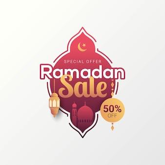Ramadan verkoop label badge banner sjabloon ontwerp achtergrond