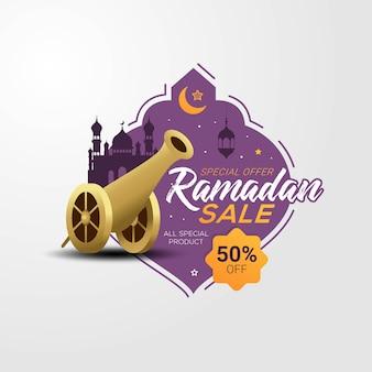 Ramadan verkoop label spandoek sjabloon