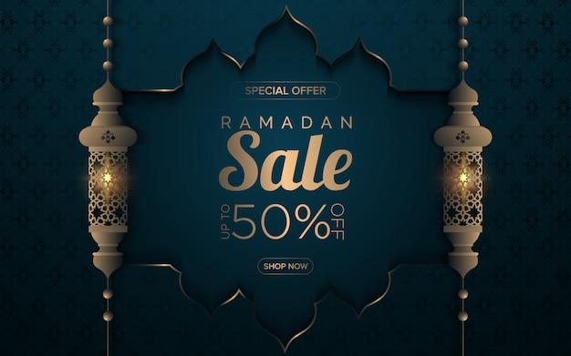 Ramadan-verkoop met islamitisch frame en lamp