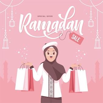 Ramadan verkoop platte ontwerp afbeelding achtergrond