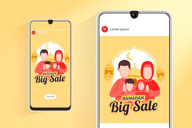 Ramadan-verkoopfeed en verhalen met illustratie moslimfamilie