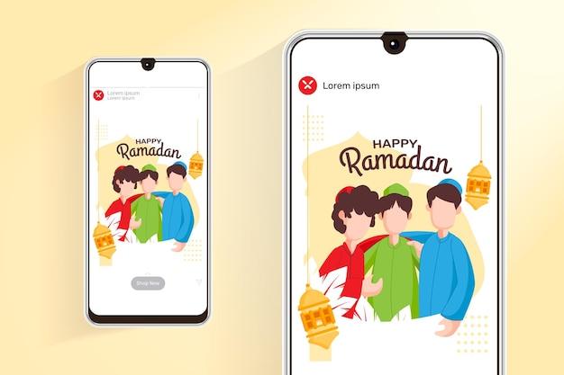 Ramadan-verkoopfeed en verhalen met illustratie moslimmensen