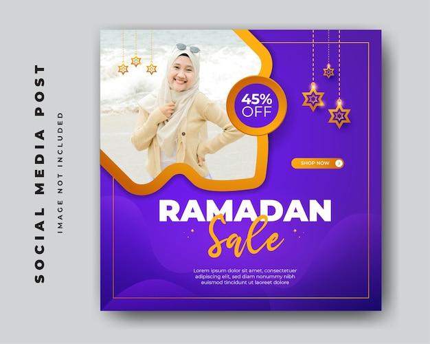 Ramadan-verkoopvierkant voor sociale media postbannermalplaatje