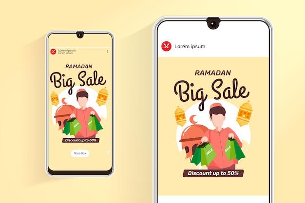 Ramadan-verkoopvoer en verhalen met illustratie moslimmensen winkelen