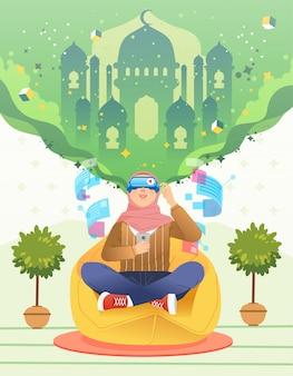 Ramadan virtual reality vrouwen hijab met vr-headset en op zoek naar moskee in virtueel